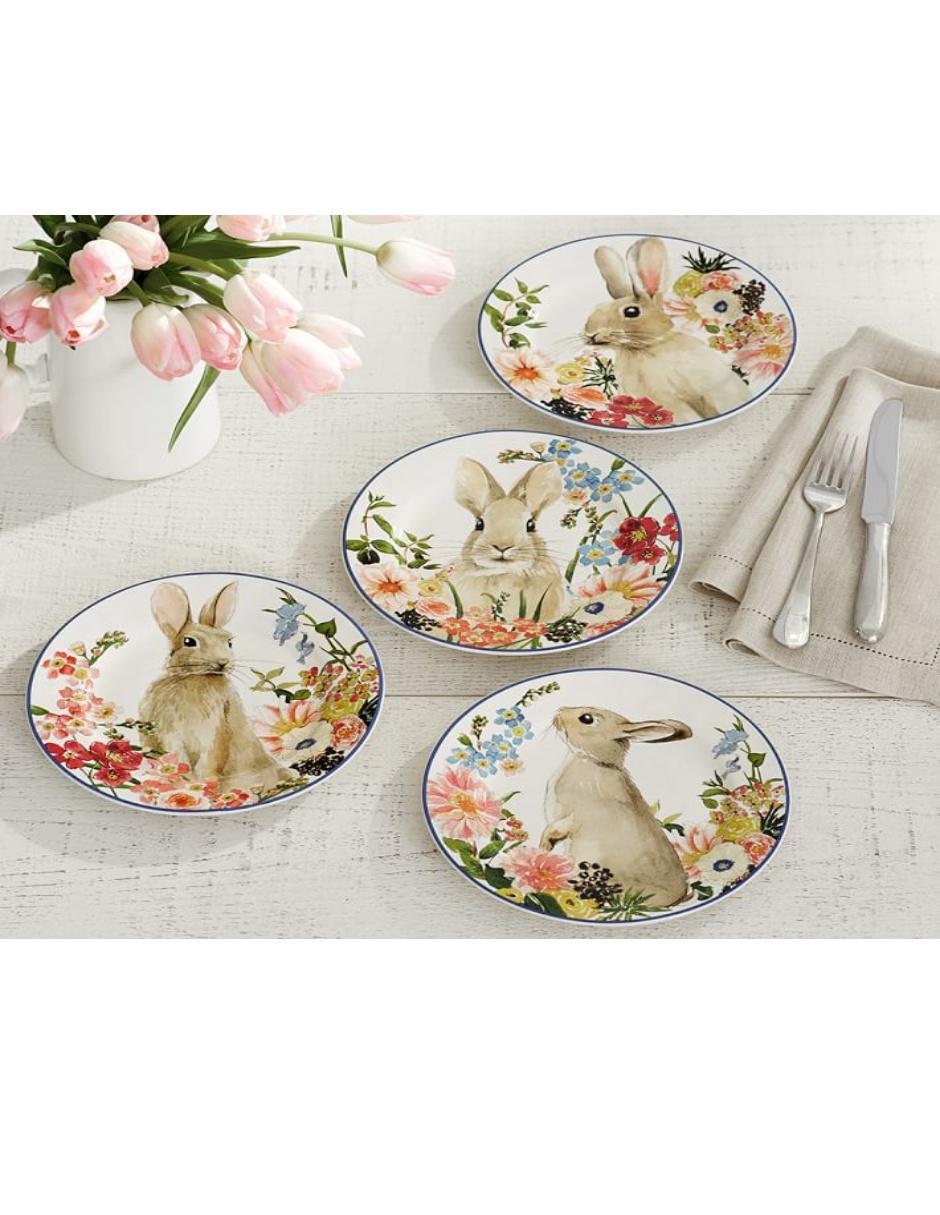 Set de Platos para Ensalada Floral Bunny
